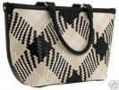 Cole Haan Plaid Genevieve Tote | Black and White Woven Leather Handbag