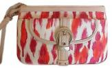 Christian Dior St Tropez Wristlet | Red and Pink Watercolor Leopard Spotted Summer Purse