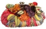 Mary Frances Firefly Clutch | Unusual Colorful Ruched Chiffon Purse