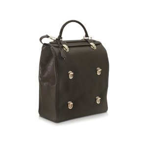 Pineider Tri-Bag Multi-level Closure Leather Bag