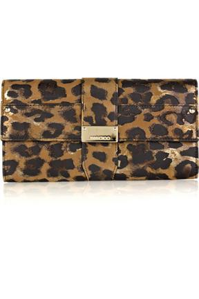 Jimmy Choo Ubai Leopard Print Leather Wallet