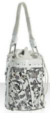 Versace Thriller Bucket Bag | Quirky White Leather Floral Handbag