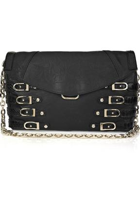 Jimmy Choo Leather And Snakeskin Buckled Clutch