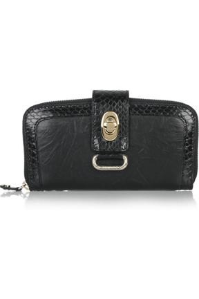 Jimmy Choo Snakeskin Trim Leather Wallet