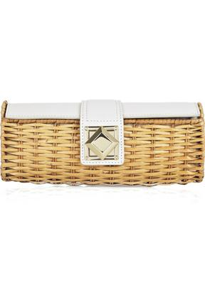 MICHAEL Michael Kors Rattan And Leather Box Clutch