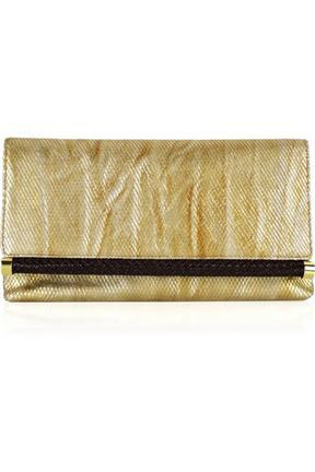 Michael Kors Skorpios Metallic Woven Leather Clutch