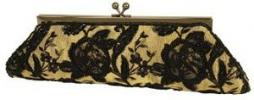 Carlo Fellini Anai Purse | Black Floral Rose Lace Satin Clutch