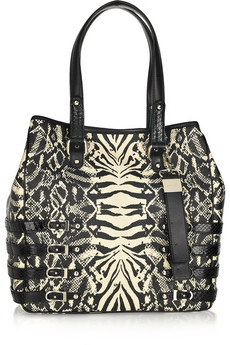 Jimmy Choo Batheth Large Snakeskin Trimmed Raffia Tote