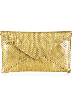 Michael Kors Metallic Python envelope Clutch