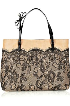 Valentino Raffia And Lace Tote