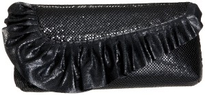 Whiting & Davis Leather Ruffle Asymetrical Flap Clutch
