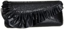 Whiting & Davis Leather Ruffle Purse | Asymmetrical Metal Mesh Flap Clutch