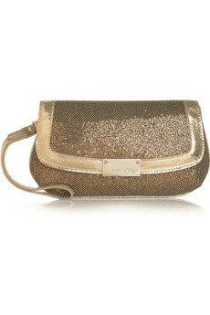 Jimmy Choo Zeta Glitter Finish Metallic Clutch
