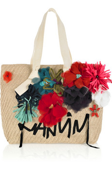 Lanvin 22 Faubourg Cabas Appliqued Cotton Canvas Tote