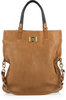 Lanvin Reflex Shopping Leather And Python Tote