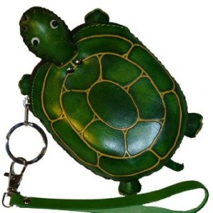 Turtle Shaped Novelty Leather Wristlet