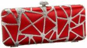 La Regale Crystal Clutch | Satin and Metal Spider Web Patterned Evening Bag