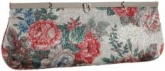 Menbur Aagaarda Floral Clutch | On Trend Purse With Silver Threading
