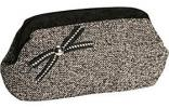 The Jesse B. Collection Coco Clutch | Cute Gray Tweed Bow Purse