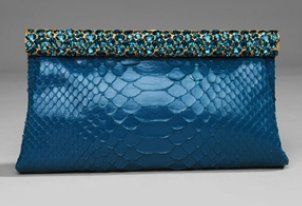 Valentino Python Jeweled Clutch