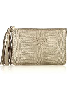 Anya Hindmarch Fergus Stitched Metallic Leather Clutch