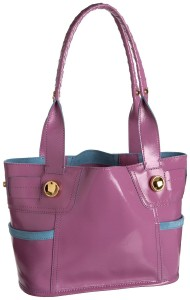 B. Makowsky Lites Burbank Tote | Pink & Blue Patent Shoulder Bag