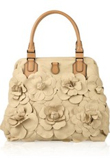 Valentino Flower Appliqued Canvas Tote