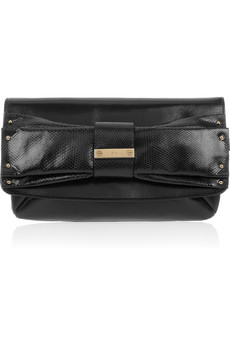 Chloe June Bow Embellished Leather Clutch