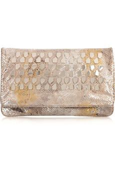 Diane Von Furstenburg Philomena Studded Snake Print Leather Clutch