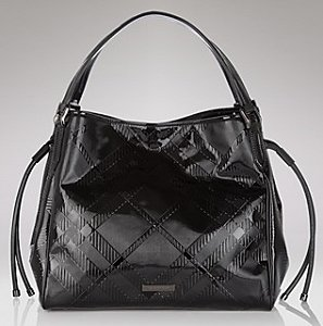 Burberry Check Patent Leather Tote