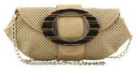 Ashley M Mag Fashion Clutch | Wooden Ring Accent Perforated Synthetic Purse