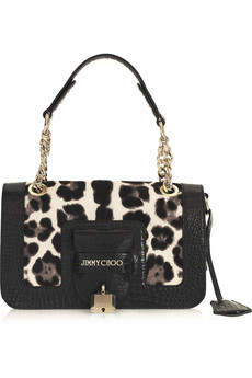 Jimmy Choo Gwen Leopard Print Calf Hair Shoulder bag