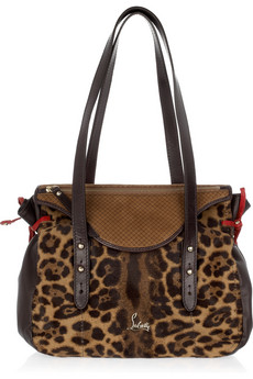 Christian Louboutin Pola Leopard Print Calf Hair Shoulder Bag