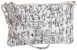 ZH Collection Pleated Clutch | Fun Cartoon Covered Monochrome Purse