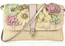 Valentino Flower-Applique Raffia Clutch