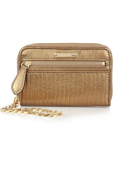 Burberry Metallic Leather Small Wristlet Clutch