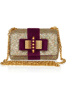 Christian Louboutin Mini Sweet Charity Glitter And Suede Bag