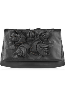 Valentino Rosette Appliqued Leather Clutch