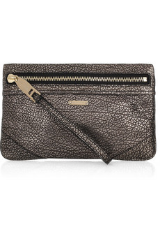 Burberry Metallic Cracked Leather Wristlet Clutch