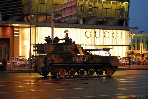 Tank outside Gucci Store China