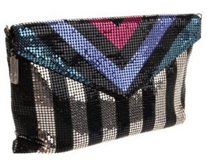 Whiting & Davis Opposing Stripes Clutch