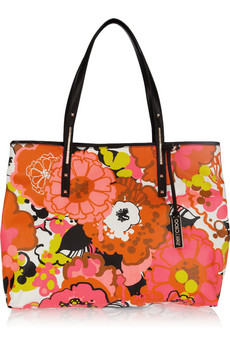 Jimmy Choo Scarlett Leather Trimmed Printed Denim Tote