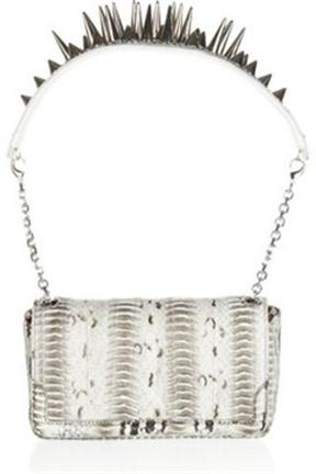 christianlouboutinartmeis spiked watersnake shoulder bag
