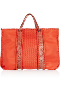 Bottega Veneta Intrecciato Leather And Watersnake Tote