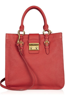 Miu Miu Madras Textured Leather Tote