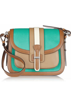 Michael Kors Gia Saddle Color Block Leather Shoulder Bag