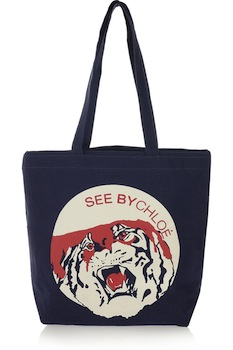 See By Chloe Tiger Print Cotton Canvas Shopper