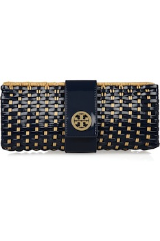 Tory Burch Rattan And Faux Patent Leather Clutch