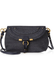 Chloe Marcie Denim And Leather Shoulder Bag